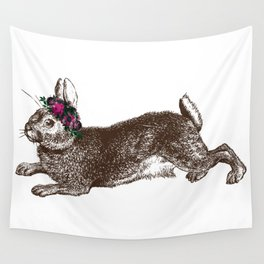 The Rabbit and Roses Wall Tapestry