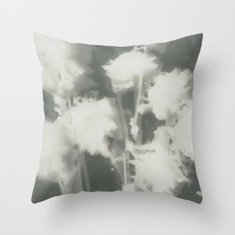 Gray Dahlias Throw Pillow