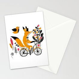 Fancy Mister Foxly Meets A Feathered Friend Stationery Cards