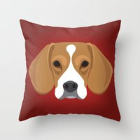 beagle Throw Pillows featuring Beagle by Three Black Dots