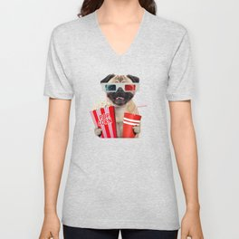 Pug watching a movie Unisex V-Neck