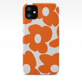 Orange Retro Flowers White Background #decor #society6 #buyart iPhone Case