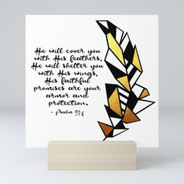 Gold Feather & Psalm 91:4 Mini Art Print