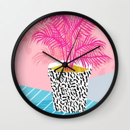 No Can Do - hipster abstract neon 1980s style memphis print palm springs socal los angeles desert Wall Clock