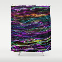 Neon Waves of Color Shower Curtain