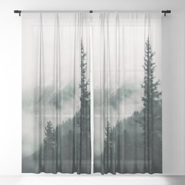 Moody snow capped Mountain Peaks - Nature Photography Sheer Curtain