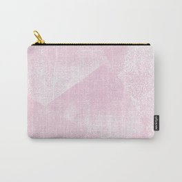 Pastel Pink and White Geometric Lino-Textured Print Carry-All Pouch