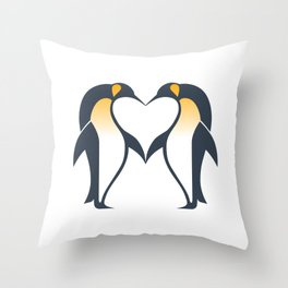 Kissing penguins Throw Pillow