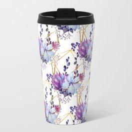 Watercolor purple lavender teal hand painted cactus floral Travel Mug