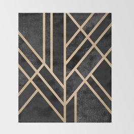Art Deco Black Throw Blanket