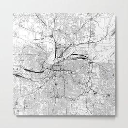 Kansas City White Map Metal Print