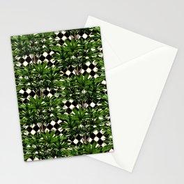 Palms on Quatrefoil - Black Gold Stationery Cards