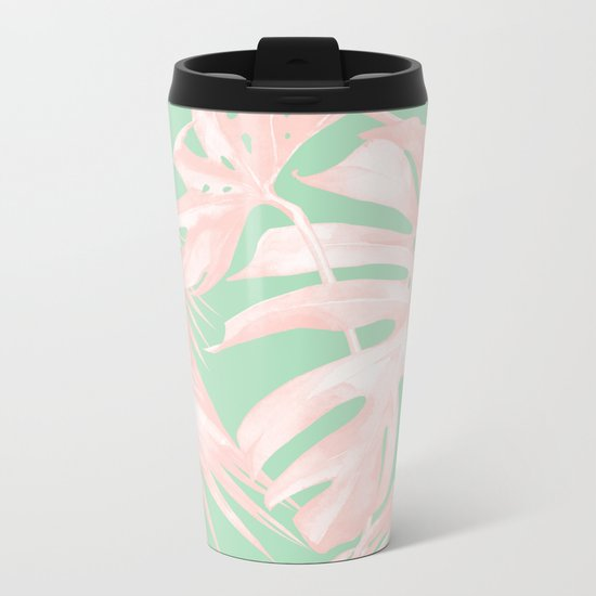 Tropical Palm Leaves Coral Pink Mint Green Metal Travel Mug
