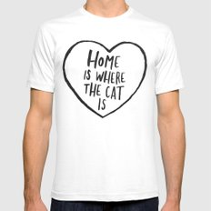 Home Is Where The Cat Is SMALL White Mens Fitted Tee