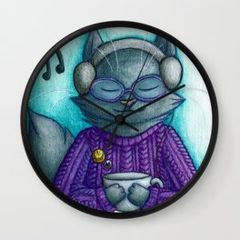 Hot drinks and cool tunes Wall Clock