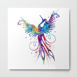 Phoenix Watercolor Print Nursery Art Gift for Her Bird Art Metal Print