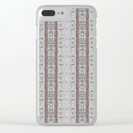 Vintage Grey White Mosaic Striped Pattern Clear iPhone Case
