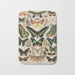 Papillon II Vintage French Butterfly Chart by Adolphe Millot Bath Mat