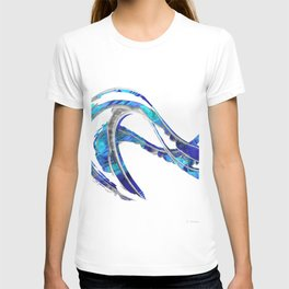 Blue And White Modern Painting - Wave 2 - Sharon Cummings T-shirt