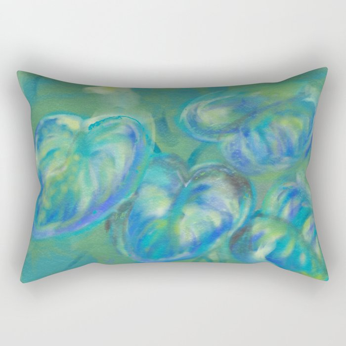 Green and White Spring Leaves Rectangular Pillow