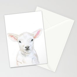 Lamb Face Watercolor Stationery Cards