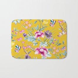 Yellow Chinoiserie Asian Floral Print Bath Mat