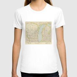 Vintage Map of Lake Michigan (1883) T-shirt