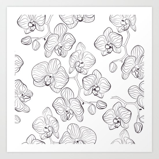 The White Orchid. Black and white pattern . Art Print