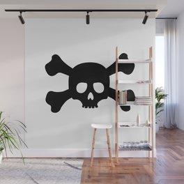 Simple Black Skull and Crossbones Wall Mural