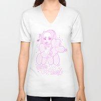 ballon V-neck T-shirts featuring Cute Ballon Rider PINK! by puropopo - プロポポ