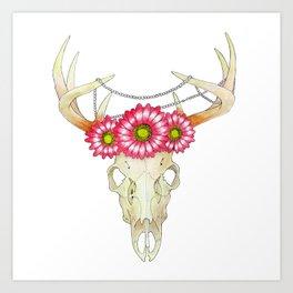 Deer Skull, pearls and Flowers Art Print