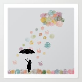 Colorful snow in Winter Art Print