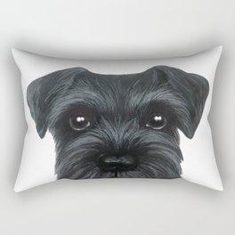 New Black Schnauzer, Dog illustration original painting print Rectangular Pillow