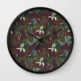 Bush Orchid Maroon Polka Pattern Wall Clock
