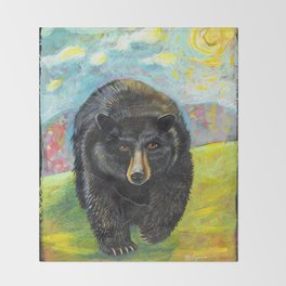 Blackbear in Mountains by Robynne Throw Blanket