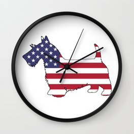 "Scottish Terrier ""American Flag"" Wall Clock"