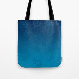 Ombre Ocean Blue Dahlia Flowers Tote Bag