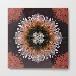 Gold Glitter Sacred Mandala Metal Print