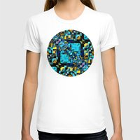 technology T-shirts featuring Blue Technology Abstract by Phil Perkins