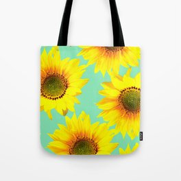 Sunflowers on a pastel green backgrond - #Society6 #buyart Tote Bag