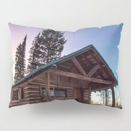 Lumberjack Sunset // Beautiful Gritty Cabin in the Woods Purple Blue Sunset Pillow Sham