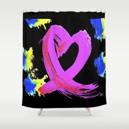 Pink Heart Ribbon (with Tie-Dye Blue-Yellow) for Breast Cancer Research by Jeffrey G. Rosenberg Shower Curtain