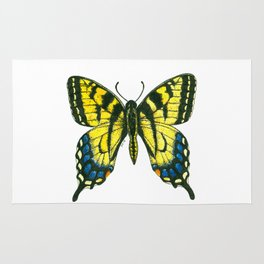 Tiger swallowtail butterfly watercolor and ink art, watercolor butterfly, eastern tiger swallowtail Rug