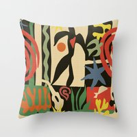 matisse Throw Pillows featuring Inspired to Matisse (vintage) by Chicca Besso