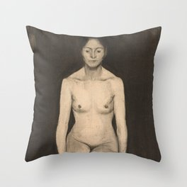Seated Female Nude by Paula Modersohn Becker, 1899 Throw Pillow