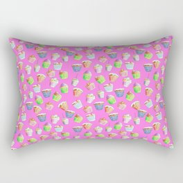 Hand Drawn Cupcakes on a Vivid Pink Background Rectangular Pillow