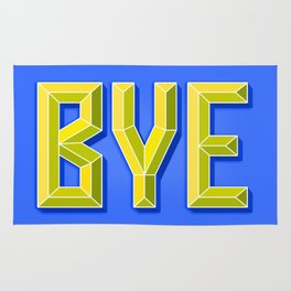 """""""BYE"""" 3D Letters (Bright Blue, Neon Yellow) Rug"""
