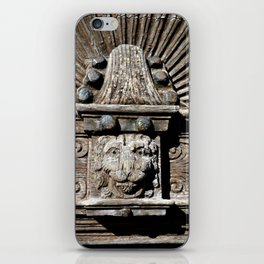 carved wooden door with lion iPhone Skin