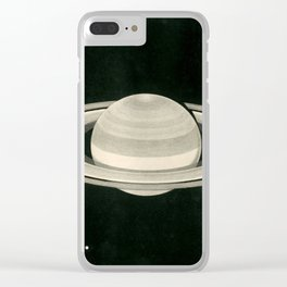 Print of a drawing by Warren De la Rue of Saturn and its moons Tethys and Enceladus - 1852 Clear iPhone Case