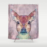 fawn Shower Curtains featuring Abstract Fawn by Ancello